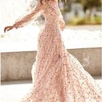 Boho peach long dress with high neckline and long sleeves Christos Costarellos
