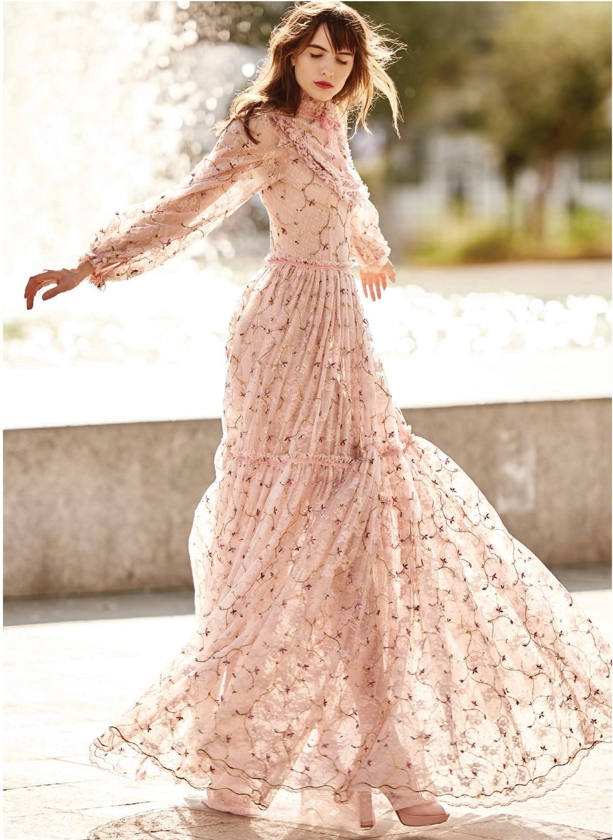4725c353889 Boho peach long dress with high neckline and long sleeves Christos  Costarellos