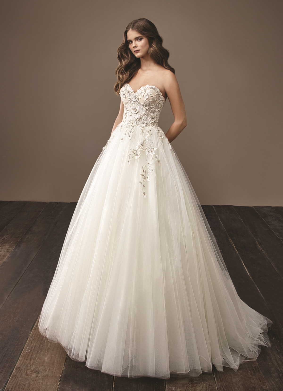 Strapless ballgown wedding dress with heart shaped neckline and embroideries Badgley Mishcka