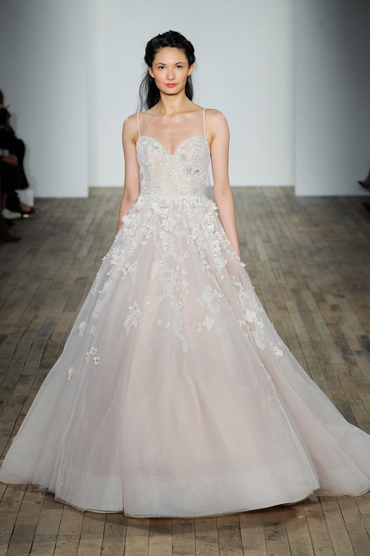 Our favorite blush pink wedding dresses the wedding tales blush pink ballgown wedding dress with spaghetti straps and embroideries hayley paige junglespirit Gallery