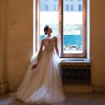 Λευκό ballgown wedding dress with tulle skirt and sheer top Idan Cohen