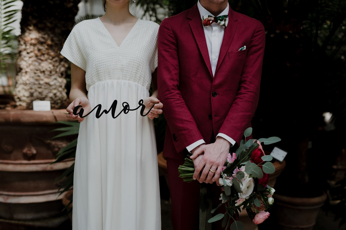 Wedding photography in a greenhouse