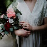 Bridal bouquet with roses and hydrangeas