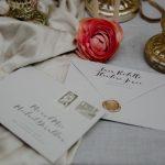 Wedding invitations with sealing wax
