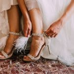 Bridal shoes with feathers and rhinestones Jimmy Choo