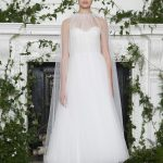 Ankle length white polka dot wedding dress with a cape Monique Lhuillier