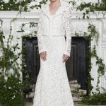 White laced bridal jacket Monique Lhuillier