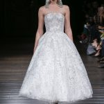 Tea length strapless embroidered wedding dress Naeem Khan