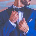 Ιδέες για μπλε κοστούμι γαμπρού με παπιγιόν