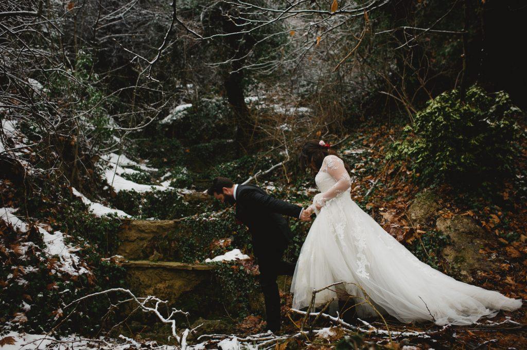Winter wedding at a mountain Greece Labrini Sotiriou