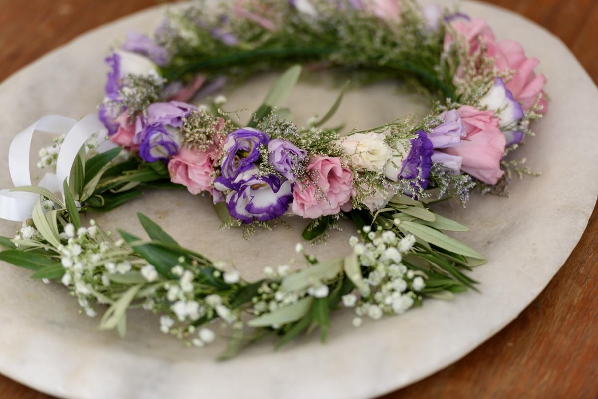 Flower crown νύφης με τριαντάφυλλα