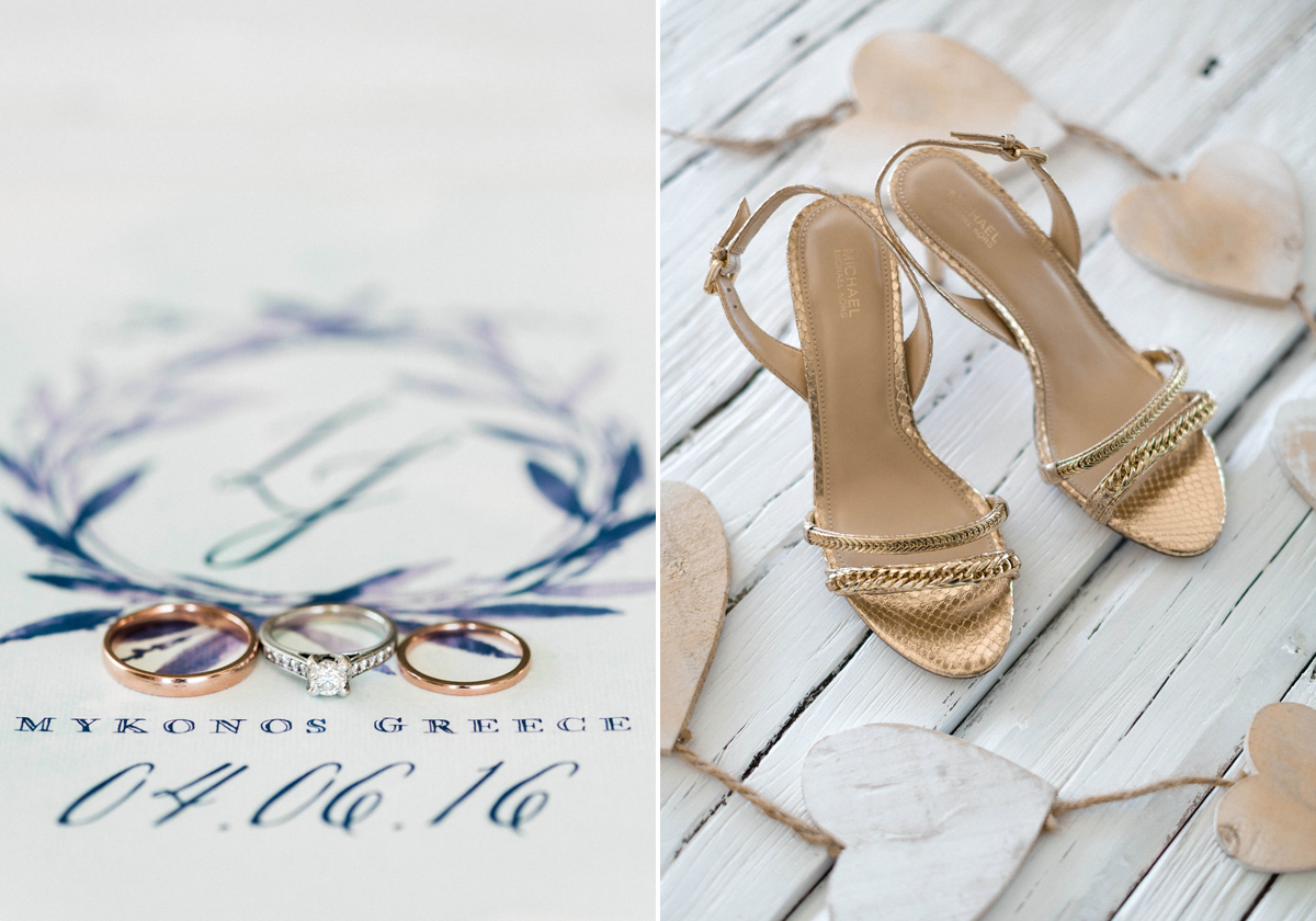 Gold metallic bridal shoes