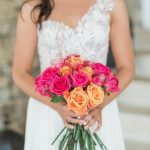 Summer bridal bouquet with pink & peach roses
