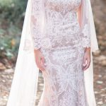 Trumpet laced wedding dress with long sleeves