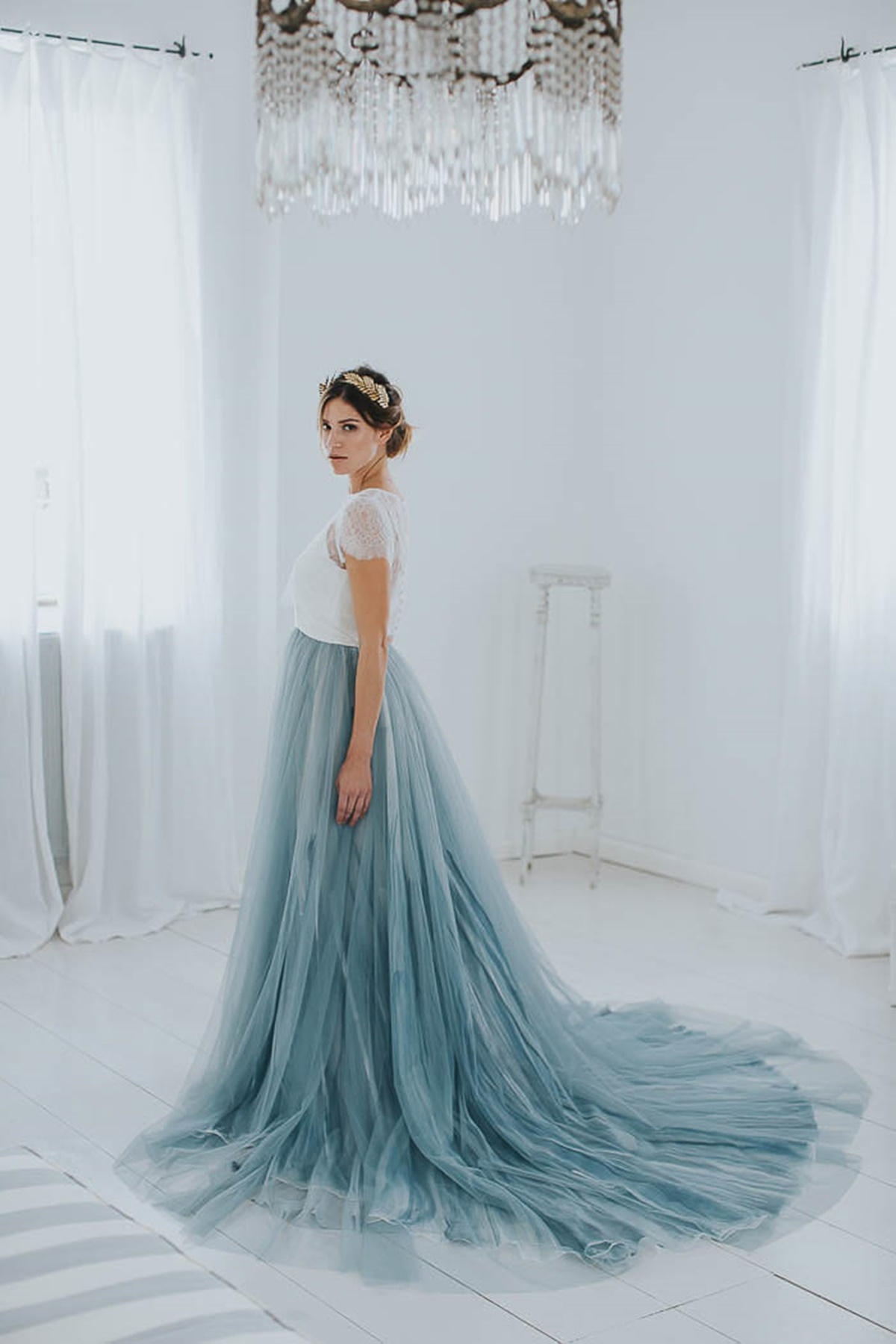 Wedding dress with light blue tulle skirt & lace top | The Wedding Tales