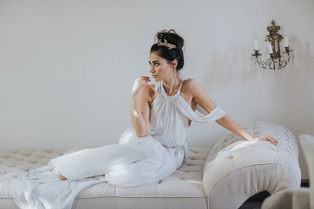 White ancient greek wedding dress | The Wedding Tales