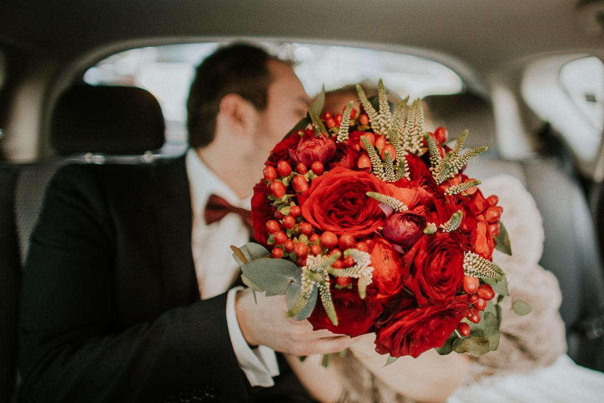 Winter red wedding at Elaion Loft