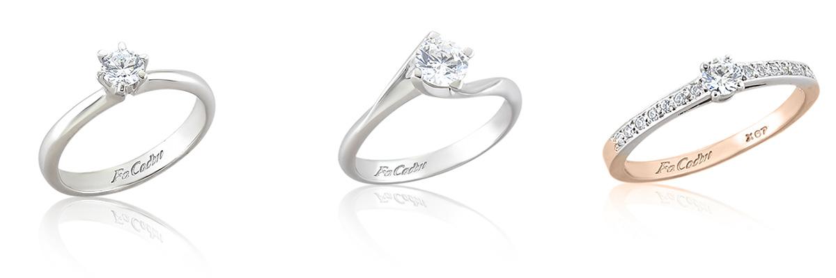 Μονόπετρα δαχτυλίδια με διαμάντι FaCad'oro