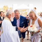 Summer wedding in Paros with stunning Celia Kritharioti gown