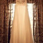A line wedding dress with lace Stylianos Atelier