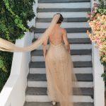 μπεζ εξώπλατο νυφικό Darb Bridal Couture
