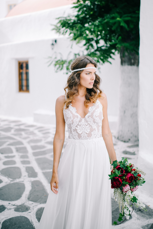 Boho καλοκαιρινό νυφικό για γάμο σε νησί Eni Angelique