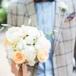νυφική ανθοδέσμη με λευκά τριαντάφυλλα