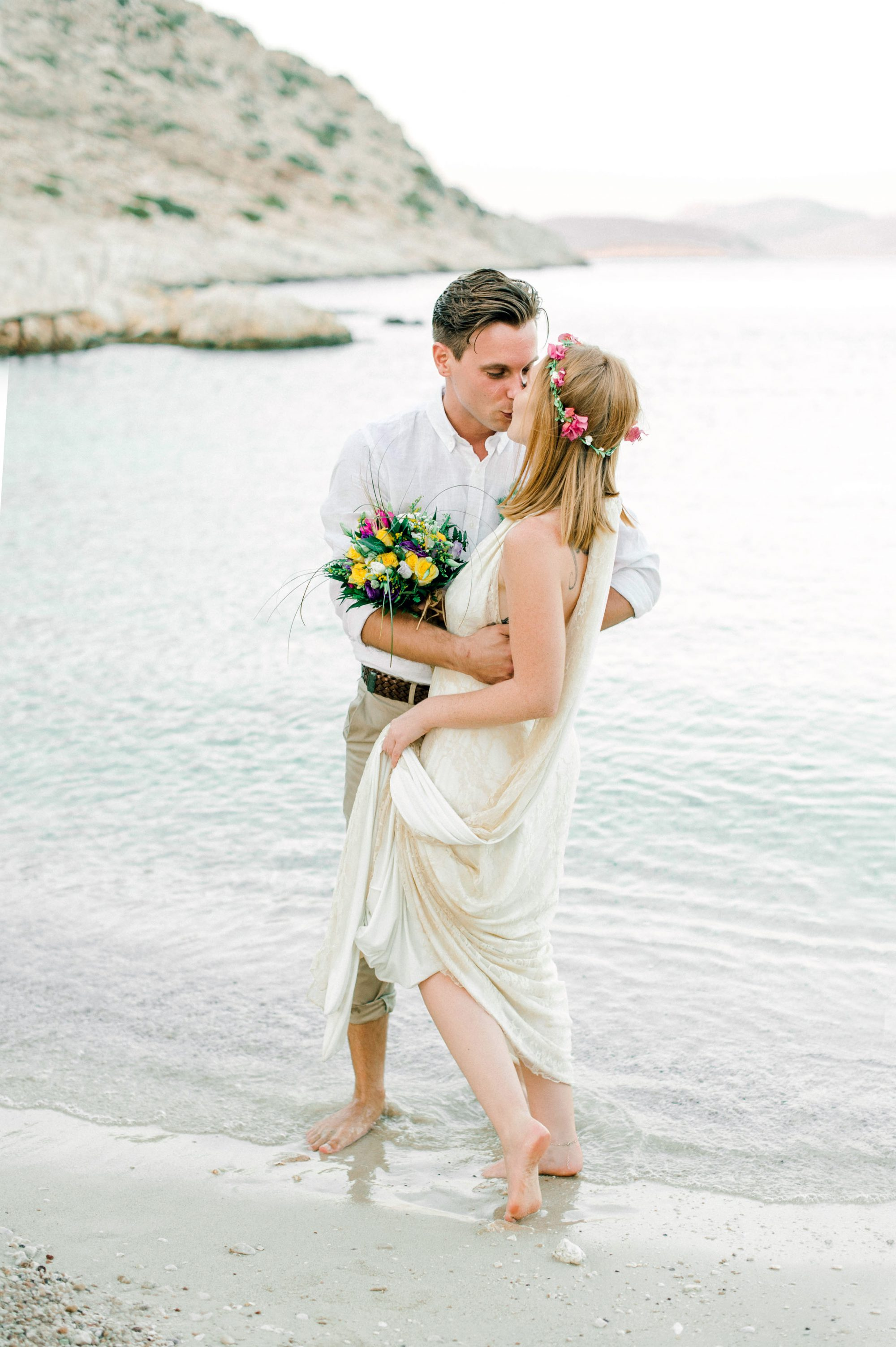 Boho intimate summer wedding in Chalki