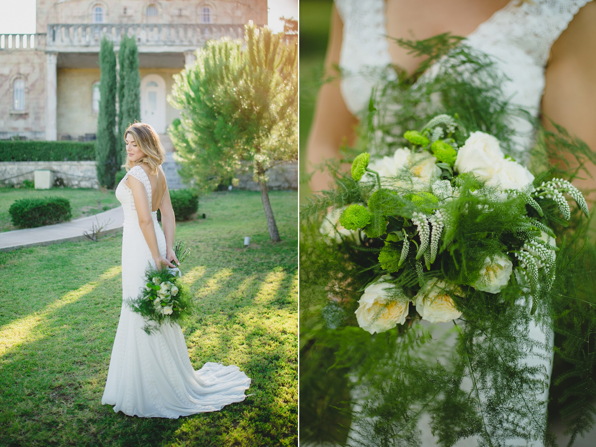 Romantic wedding with white roses