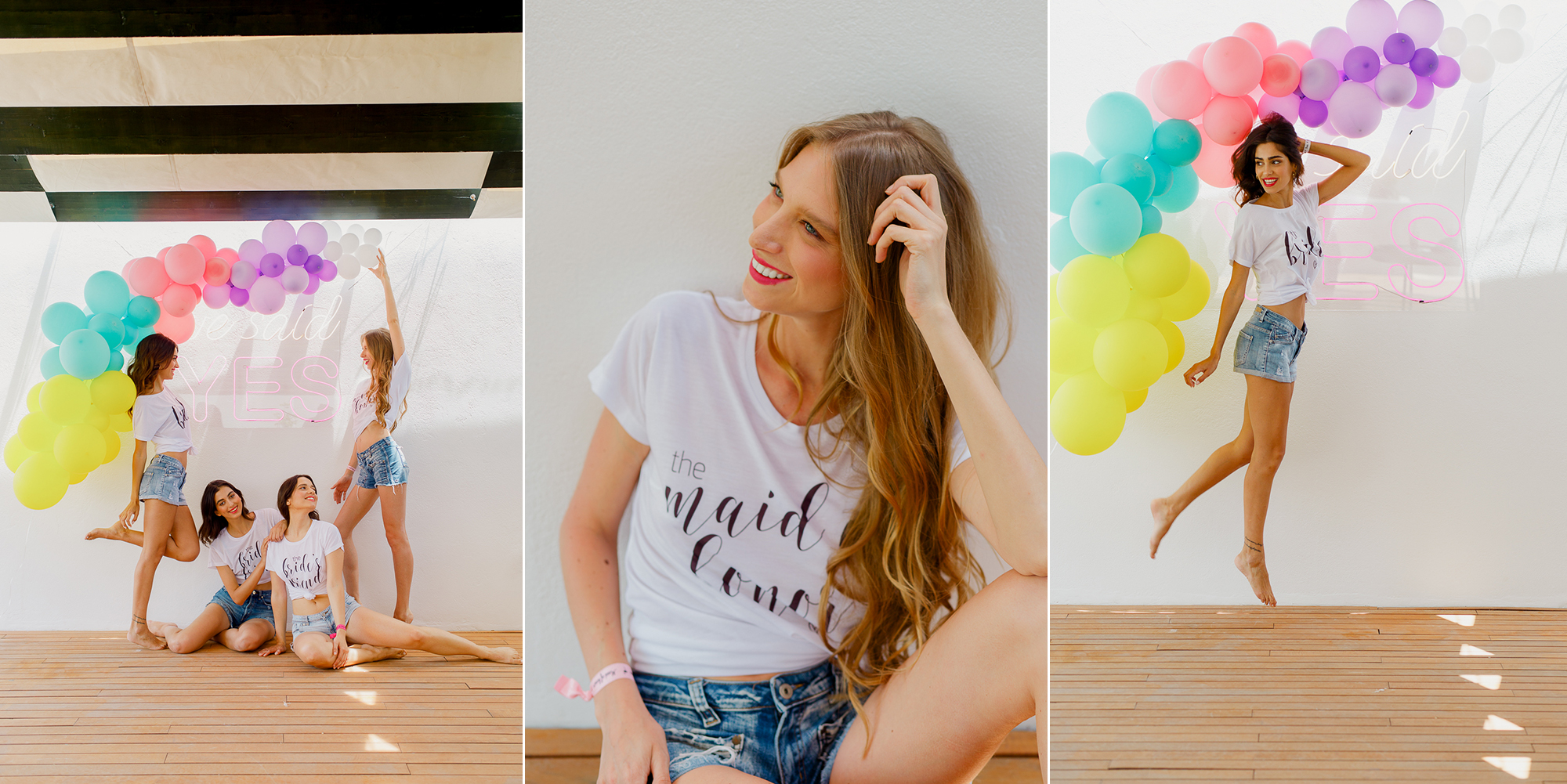 Summer bachelorette photoshoot with pop colors