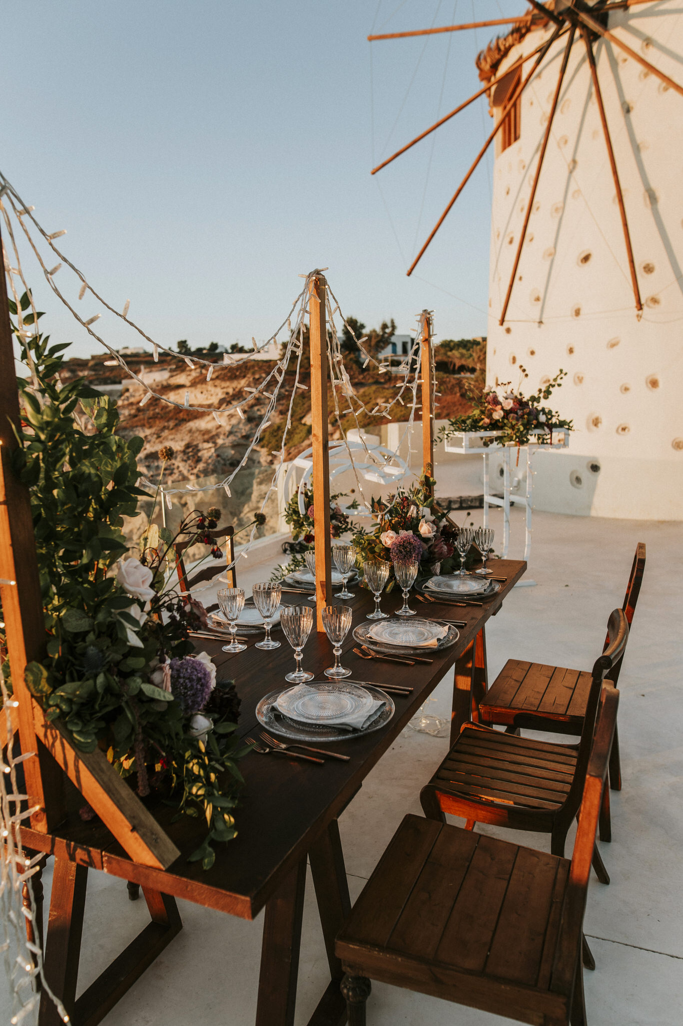 A romantic bohemian elopement in Santorini