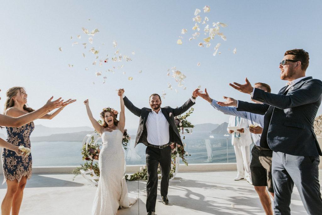 A romantic bohemian elopement in Santorini