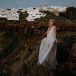 Stylish bohemian engagement session in Santorini